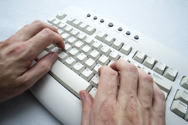 two hand typing