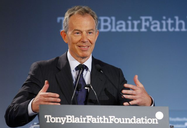 Former British Prime Minister Blair speaks at launch of Tony Blair Faith Foundation in New York