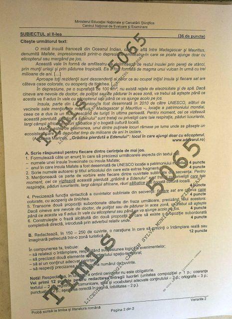 subiecte evaluarea nationala limba romana 2
