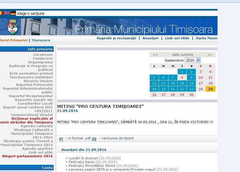 """Mitingul """"apolitic"""" pentru centura de Sud a fost promovat pe site-ul Primăriei Timişoara"""