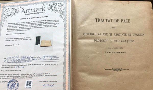 Tratatul de la Trianon, documentul original în limba română